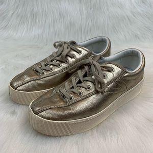 Tretorn Nylite Metallic Gold Platform Sneaker 7